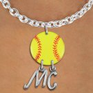 SWW21270N - NECKLACE AND YELLOW SOFTBALL PENDANT WITH YOUR INITIALS