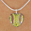 SWW1519SN4 - SPORTY SILVER TONE AND YELLOW  CRYSTAL SOFTBALL HEART SHAPED CHARM  AND NECKLACE