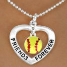 "SWW13074N - ""FRIENDS FOREVER"" HEART & SOFTBALL DROP NECKLACE"