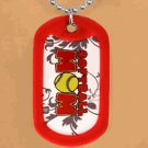 """SWW12206N - RED """"SOFTBALL MOM"""" DOG TAG & BALL CHAIN NECKLACE"""