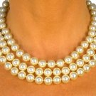 SWW8584N - CREAM COLOR TRIPLE - STRAND 10MM FAUX PEARL NECKLACE