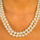 SWW8586N - CREAM COLOR DOUBLE- STRAND 8MM FAUX PEARL NECKLACE