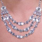 SWW20066NE - GENUINE AUSTRIAN  SPARKLING CRYSTALS AND STUDS ON  3-STRAND NECKLACE & EARRING SET