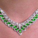 SWW19907NE - GENUINE AUSTRIAN  SPARKLING GREEN CRYSTAL LOVELY  DESIGN NECKLACE & EARRING SET