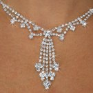 SWW18819NE - FACETED CLEAR GENUINE AUSTRIAN CRYSTAL NECKLACE & EARRING SET