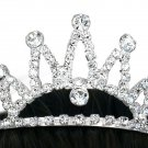 SWW10546T - SILVER TONE TRIM GENUINE AUSTRIAN CRYSTAL FIVE-SPIKE TIARA HAIR COMB