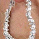 SWW18483E - GENUINE AUSTRIAN  CRYSTAL OPEN HEART HOOP EARRINGS