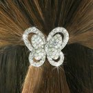 SWW18706HJ - CLEAR AND AURORA  BOREALIS GENUINE AUSTRIAN  CRYSTAL BUTTERFLY PONYTAIL  HOLDER