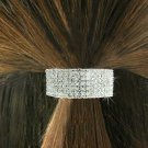 SWW18535HJ - CLEAR 6 ROWGENUINE  AUSTRIAN CRYSTAL PONYTAIL  HOLDER