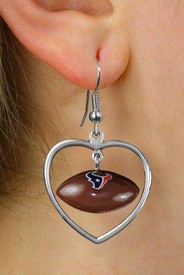 SWW21049E - HOUSTON TEXANS NFL TEAM  HEART AND 3D LOGO FOOTBALL EARRINGS
