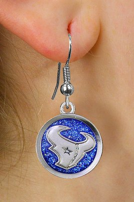"SWW21046E - HOUSTON TEXANS NFL TEAM  SILVER TONE ""TORO"" BLUE SPARKLE EARRINGS"