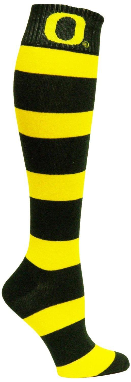 SZ One Size NCAA Oregon Ducks Green and Gold Stripe Dress Socks - SWAZC