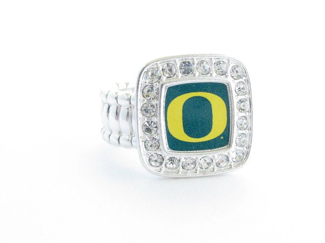 Officially Licensed University of Oregon Ducks Silvertone Crystal Studded Stretch Ring - SWAZC
