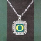 Officially Licensed University of Oregon Ducks Square Crystal Studded Pendant Necklace - SWAZC
