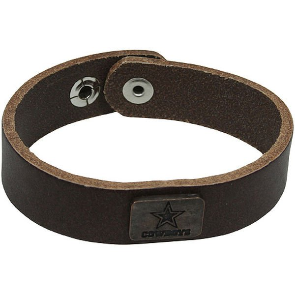 SWWNFL1006499 - Dallas Cowboys Square Antiqued Logo Leather Cuff Bracelet - Brown