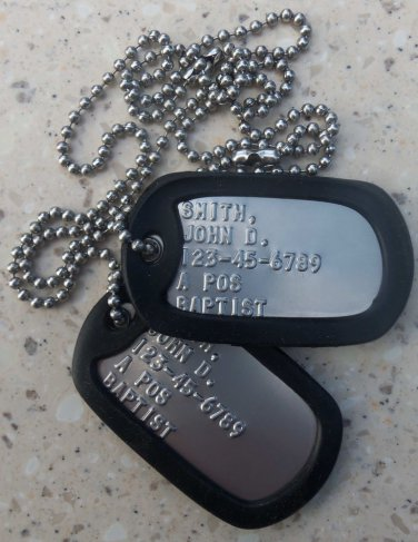 Real Standard Stainless Steel Military DOG TAGS On Neckchain Made Just For U