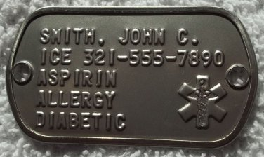 2 Hole MEDICAL Information Dog Tag Dogtag For Your Paracord