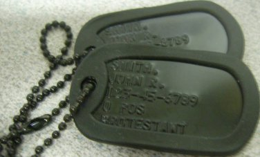 Real Black Embossed  Military Dog Tags Made Just For U
