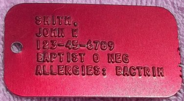 Real Red Aluminum Military Medical Info  Dog Tag Dogtag Made  For U