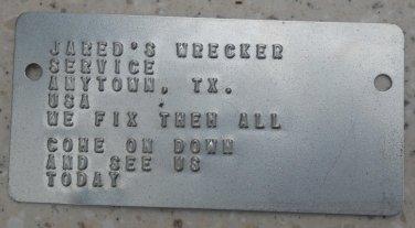 Custom Embossed  Metal I.D. DATA PLATE  Printed On Real Military Dog Tag Machine