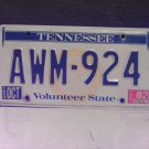 1982 Tennessee YOM License Plate Tag TN #AWM924