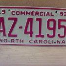 1993 North Carolina Commercial Truck License Plate Mint NC #AZ-4195