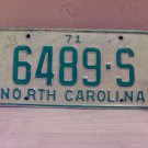 1971 North Carolina Original License Plate NC #6489-S