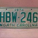 1974 North Carolina Mint License Plate Tag NC #HBW-246