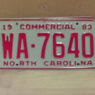 1983 North Carolina NC Common Carrier Truck License Plate Tag #WA-7640