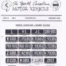 1950 North Carolina NC License Plate Tags Blotter Copy
