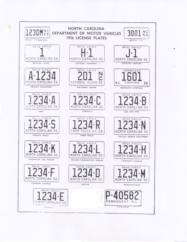 1956 North Carolina NC License Plate Tags Blotter Copy