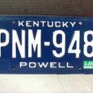 1987 Kentucky KY YOM License Plate Tag #PNM948