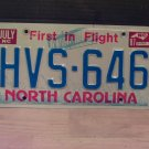 1987 North Carolina Passenger License Plate NC #HVS-646