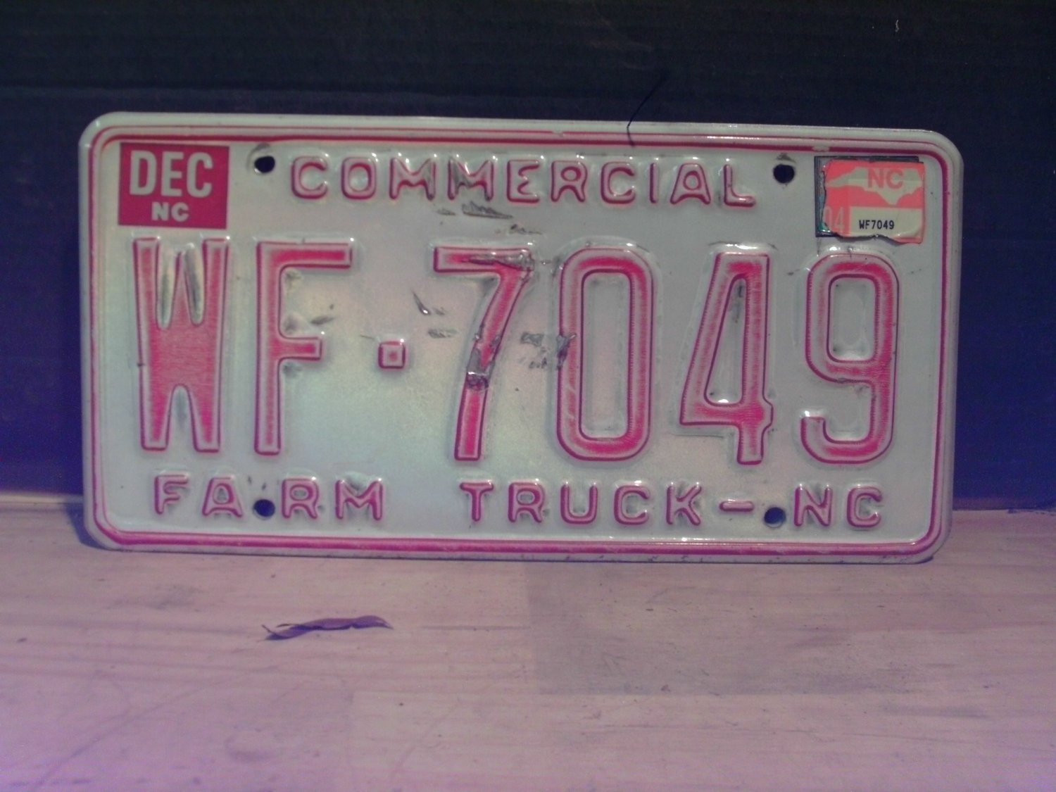 2004 North Carolina Farm Truck License Plate NC #WF-7049