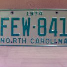 1974 North Carolina EX Passenger License Plate Tag NC #FEW-841