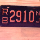1950s New Jersey NJ Single License Plate Tag #RB2910