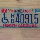 2008 North Carolina NC Handicapped License Plate Tag #HD40915