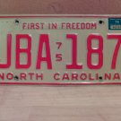 1976 North Carolina NC Passenger YOM License Plate JBA-187