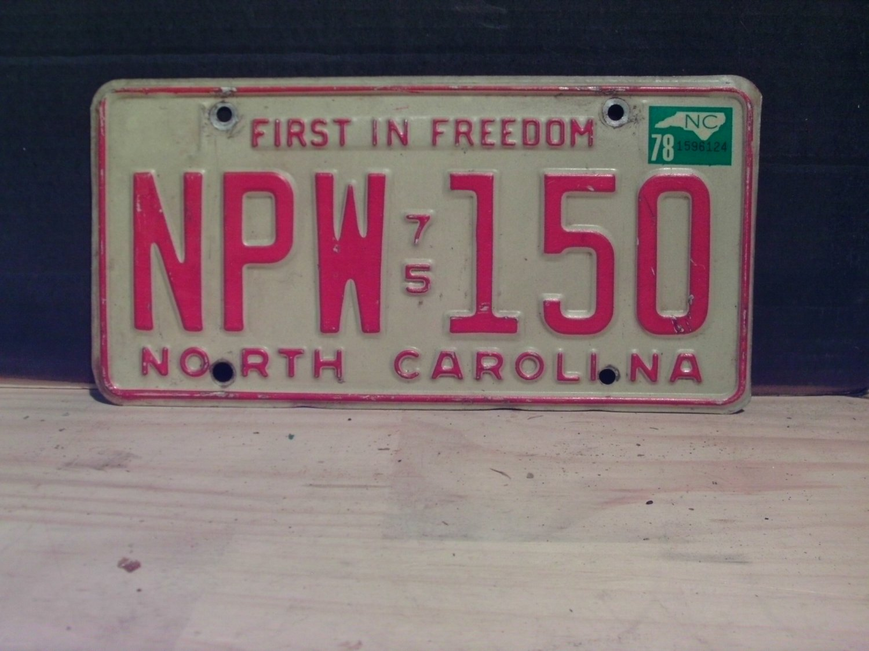 1978 North Carolina License Plate NC #NPW-150