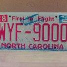 2008 North Carolina NC Red Letter License Plate Tag WYF-9000 EX-N