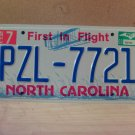 2003 North Carolina Mint License Plate NC #PZL-7721 With Registration