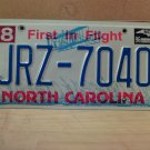 1996 North Carolina EX License Plate NC #JRZ-7040 With Registration