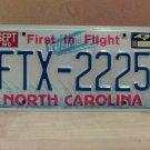 1996 North Carolina EX License Plate NC #FTX-2225 With Registration