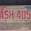 1981 North Carolina First in Freedom License Plate NC #ASH-405