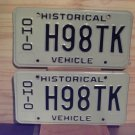 1980s Ohio OH Historical Vehicle License Plate Tag Pair #H98TK
