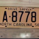 1958 North Carolina Rat Rod License Plate Tag NC #A-8778 YOM