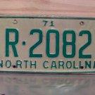 1971 North Carolina YOM License Plate Tag NC R-2082