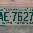 1982 North Carolina NC Commercial Truck License Plate AE-7627