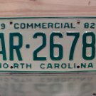 1982 North Carolina NC Commercial Truck License Plate AR-2678