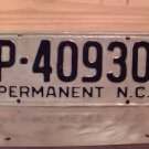 1950s North Carolina Permanent License Plate NC #P-40930